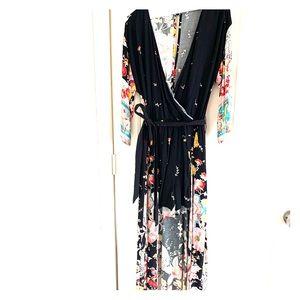 LOVE, FIRE KIMONO WALK THROUGH MAXI DRESS